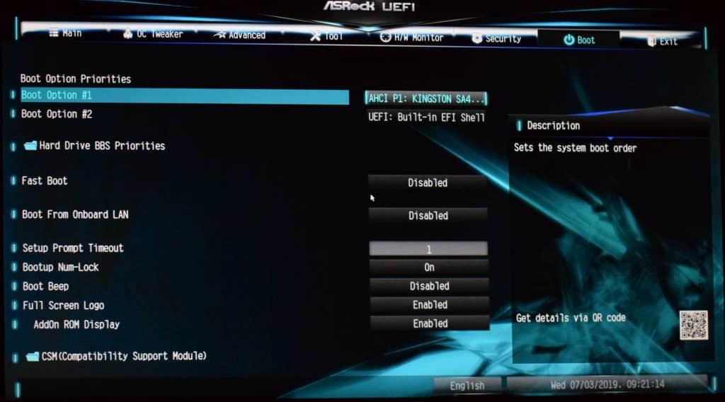 bootloader mode BIOS screen