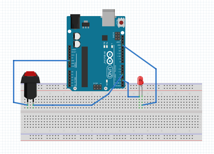 Arduino circuit with button and LED