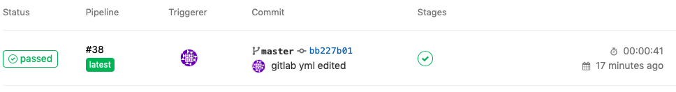 Status  @ passed  Pipeline  #38  latest  Triggerer  Commit  Pmaster bb227bø1  Stages