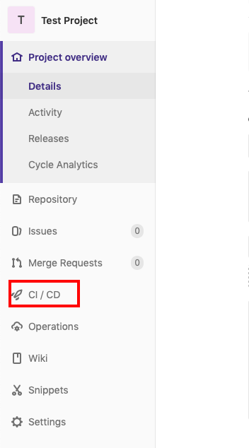 T Test Project  Project overview  Details  Activity  Releases  Cycle Analytics  Repository  O) Issues  Merge Requests  e Cl / CD  Operations