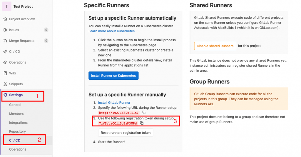 T Test Project  Project overview  O) Issues  I h Merge Requests  •e CI/CD  Operations  Wiki  X Snippets  Settings  General  Members  1  Specific Runners  Set up a specific Runner automatically  you can easily install a Runner on a Kubernetes cluster.  Learn more about Kubernetes  1. Click the button below to begin the install process  by navigating to the Kubernetes page  Select an existing Kubernetes cluster or create a  2.  new one  From the Kubernetes cluster details view, install  3.  Runner from the applications list  Install Runner on Kubemetes  Set up a specific Runner manually  I. Install GitLab Runner  2. specify the following URL during the Runner setup:  http: //192.168.0.115/ tö  Shared Runne  GitLab Shared Runni  on the same Runner  Autoscale with MaxE  Disable shared Rur  This GitLab instance dc  Instance administrators  admin area.  Group Runner  GitLab Group Runne  projects in this groug  Runners API.